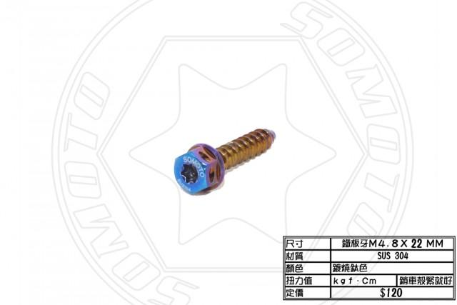鍍鈦鐵板牙M5  x 22mm
