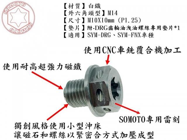 DRG FNX 強力磁石齒輪油洩油螺絲 官方產品公告上線
